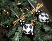 Black and White Check hand painted ornaments