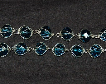 Sapphire blue caged crystal doubled bracelet