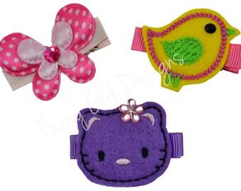 Embroidered Felt Kitty Children's Hair Clip Set