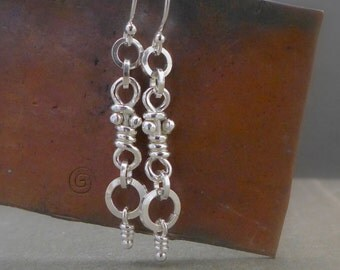 Sterling Silver Rustic Knot Earrings, Organic Dangle Silver Knots, Dangling Knots, Handmade Ina Earrings, Aroluna