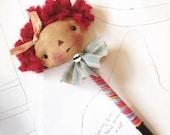 Handmade Pen - Raggedy Ann Doll -  handmade Ragdoll - Office supplies - teacher gifts -Raggedy Annie doll head Pen