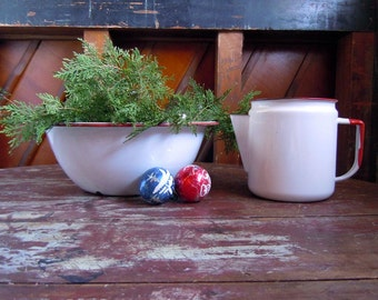Vintage Mid Century Red and White Enamelware Bowl and Teapot Rustic Cabin Farmhouse
