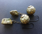 The Million-Crested Sun. Gold texture faceted polymer art beads with chunky pyrite. Rustic earrings.