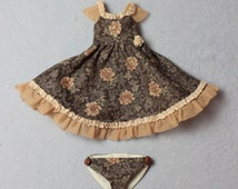 Dress for slim YoSD,  tiny BJD Pip and other small dolls, cotton, brown rose pattern
