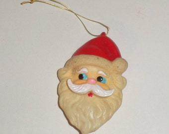 Vintage Vinyl Santa Ornament - Soft Vinyl Santa Head - Old Santa Ornament - Santa Ornament - Rubber Santa Ornament - Christmas Ornament