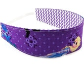 Frozen sisters Anna and Elsa reversible headband, child headband, girl party favor photo prop hair pretty toddler baby cotton purple lilac