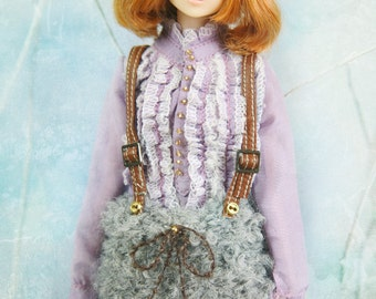 jiajiadoll hand-knitting grey sheep pompom overall skirt fit momoko and blythe
