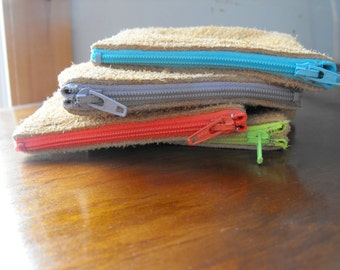 Mini suede  zipper pouch
