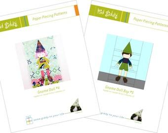 Gnome Doll Girl #4 & Boy #5 Bundle PDF Paper Piecing Patterns