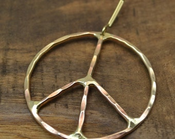Peace Ornament, Solid Brass