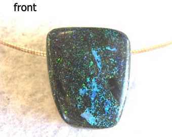 Brightly Coloured Carbonised Matrix Opal Pendant - Item 711143 - FREE SHIPPING