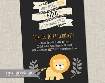 Lion Birthday Party Invitations - Printable Digital File
