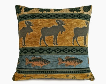 Moose Pillows, Rustic Cabin Pillow Covers, Fall Colors, Earthy Blue Sage Green Brown Grey, Wildlife Decor, 20x20, 50x50 cm