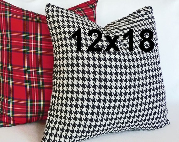 Black White Houndstooth Pillow Cover, Black White Plaid Throw Pillow, 12x18, Lumbar Decorative Pillow, Black White  Accent Pillow