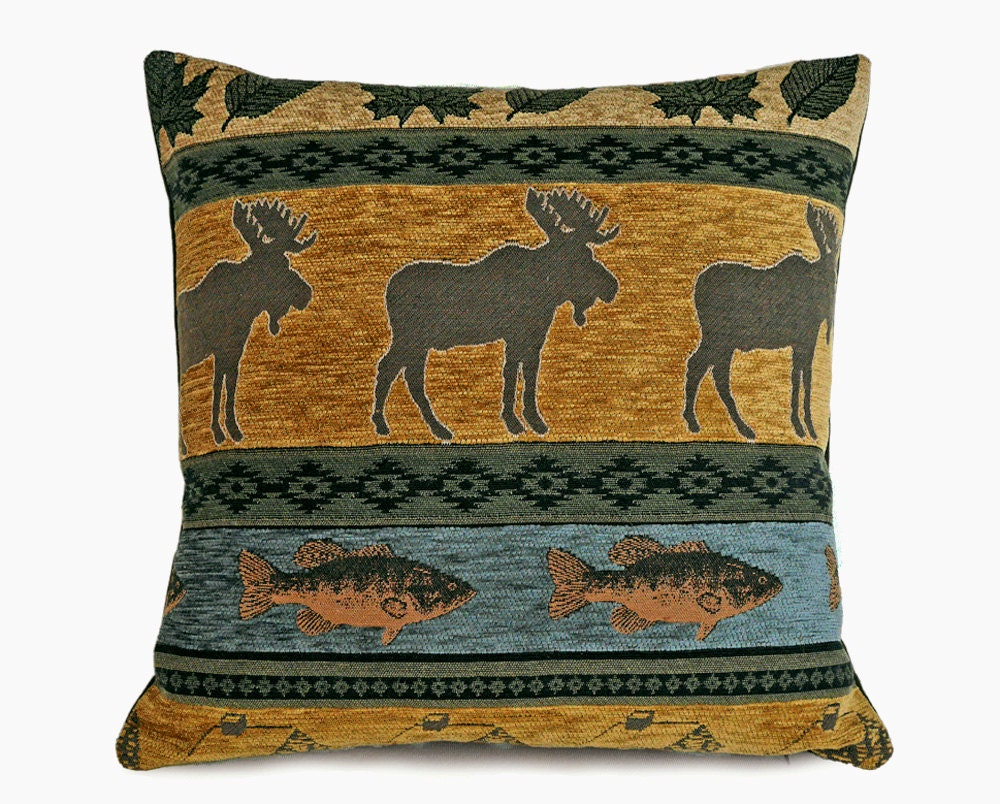 Modern Moose Pillow : Moose Pillows Rustic Cabin Pillow Covers Fall Colors Earthy