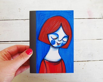 Earthquake Italy Aid, Illustration girl journal, illustrated notebook red & blue