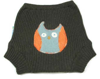 """WOOL SOAKER - Wool Diaper Cover - """"Hooty Booty"""" - Large 18m-2t"""