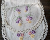 Pair of Matching Vintage Hand Embroidered Night Stand or End Table Doilies