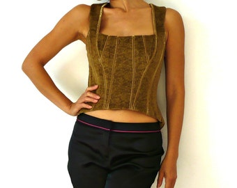 French Vintage Lace Print Moss Velvet Lace up Bustier
