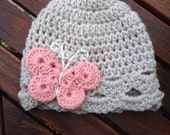 Infant size butterfly hat linen with pink and cream