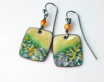 Blooming Meadow Copper Enamel Earrings, Dangles Yellow White Lavender Greens Accents, Vitreous Enamel Original Art Jewelry, WillOaks Studio