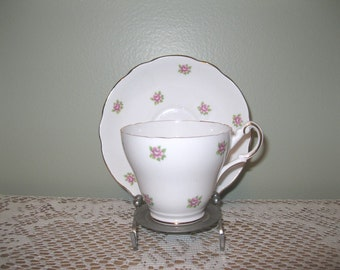 Vintage Regency English Dainty Bone China Pink and White Floral Cup and Saucer Set