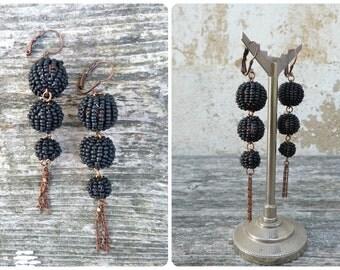 Pompoms Black Handmade in France 3 pompoms /tassels /dangles earrings  leverbacks