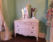 custom order Antique Dresser with mirror Shabby Chic white distressed girl bedroom changing table vintage Cottage swags bows
