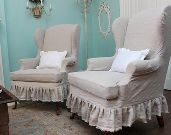 slipcovered wingback chair pair french linen shabby chic ruffle cottage slipcover prairie custom order
