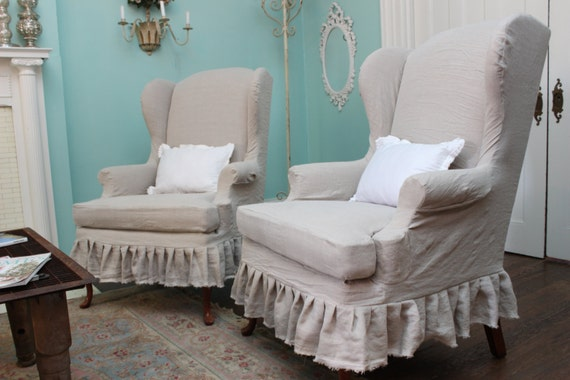 Items Similar To Slipcovered Wingback Chair Pair French