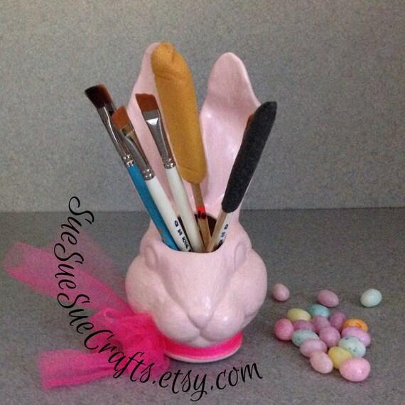Amigurumi Bunny Pencil Holder : Pink rabbit head vase brush or pencil holder easter bunny