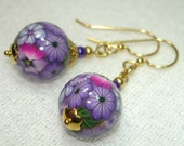 Wearable Garden Handmade Polymer Clay Sphere - Purple Posies in Gold- OOAK - Free Shipping within the U.S