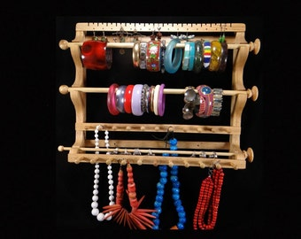 Hanging Earring, 2 Bracelet Wands, Ring Wand, and 2 Necklace Holder Slats Storage Organizer Display Oak