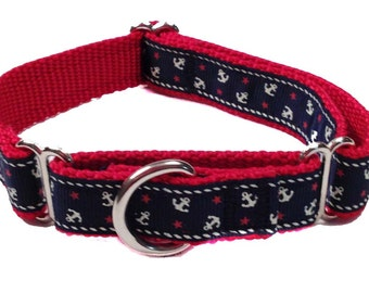 """3/4"""" Nautical Anchor Martingale or Buckle Collar"""