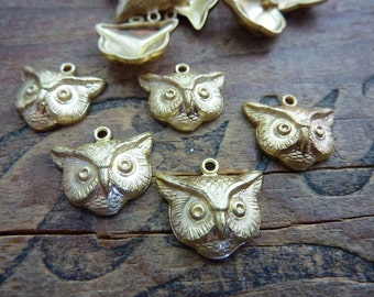 Raw Brass Stamping Owl Face Charm (1) Made in USA