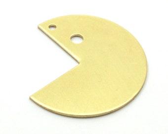 Brass Necklace Supply, 10 Raw Brass Three Quarters Stamping Blank Pendant 2 Holes (30x25x0.80 Mm) b0090