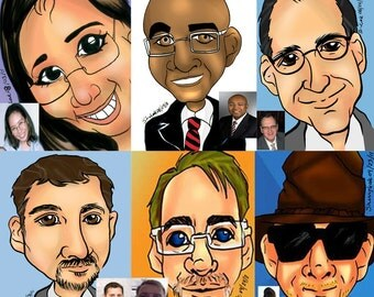 10 Color Caricatures from Photo Custom Wedding Place Card Holder Party Trade Show Employee Corporate Gift Favor Lot