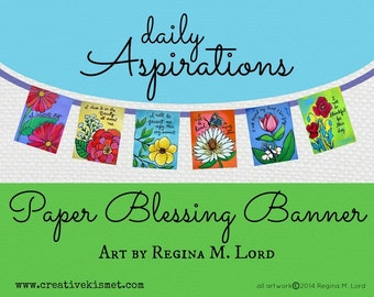 Paper Blessings Banner - Prayer Flags with Art by Regina Lord