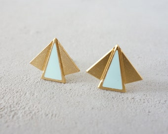 On Sale 20% Off, Small Art Deco Post Earrings, Geometric earings, Art Deco Jewelry, resin jewelry, signature earings, Architectural jewelry