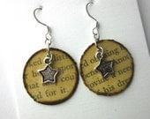 Book page earrings, book earrings, literary earrings, book page jewlery, Brenda Starr Girl Reporter