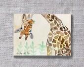 ooak-Giraffe original painting ACEO - buy 3 get 1 free Nursery Art,Giraffe Watercolor,Giraffe Illustration,