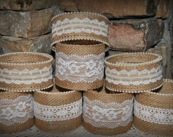Sale 12 for the price of 10 Mason Jar Sleeves Burlap Lace Wraps Shabby Rustic Wedding Party Shower Decorations Centerpiece