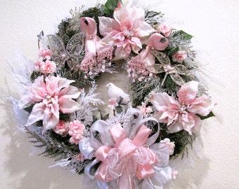 Breast Cancer Victorian Holiday Christmas Wreath with Pink Ribbons, Rhinestone Jeweled Accents, Long Beaded Fringe Bow, white lace and dove
