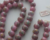 Vintage Japanese Millefiori beads lampwork opaque glass pink & handmade beads 8mm (10 beads)