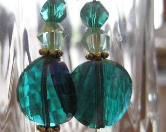 Beautiful Blue/Green Glass Earrings