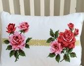 Coral Garden Vintage Linen Pillow 5