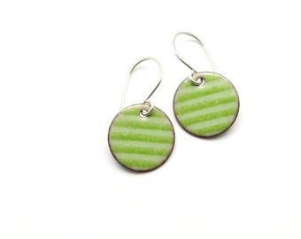 Handmade Green Striped Earrings, Modern Enamel Jewelry, Copper and Sterling Silver