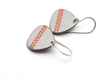 Handmade Gray Drop Earrings with Red Polka Dots, Modern Enamel Jewelry, Copper and Sterling Silver