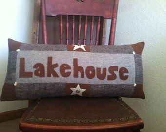 Lake house pillow wool decor Upcycled Lodge Lakehouse