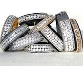 SwedArt B158 Crystal Princess Sami Leather Bracelet w Swarovski Crystals, Pewter Button, Black, X-LARGE